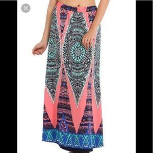Renee C pink tribal print maxi skirt